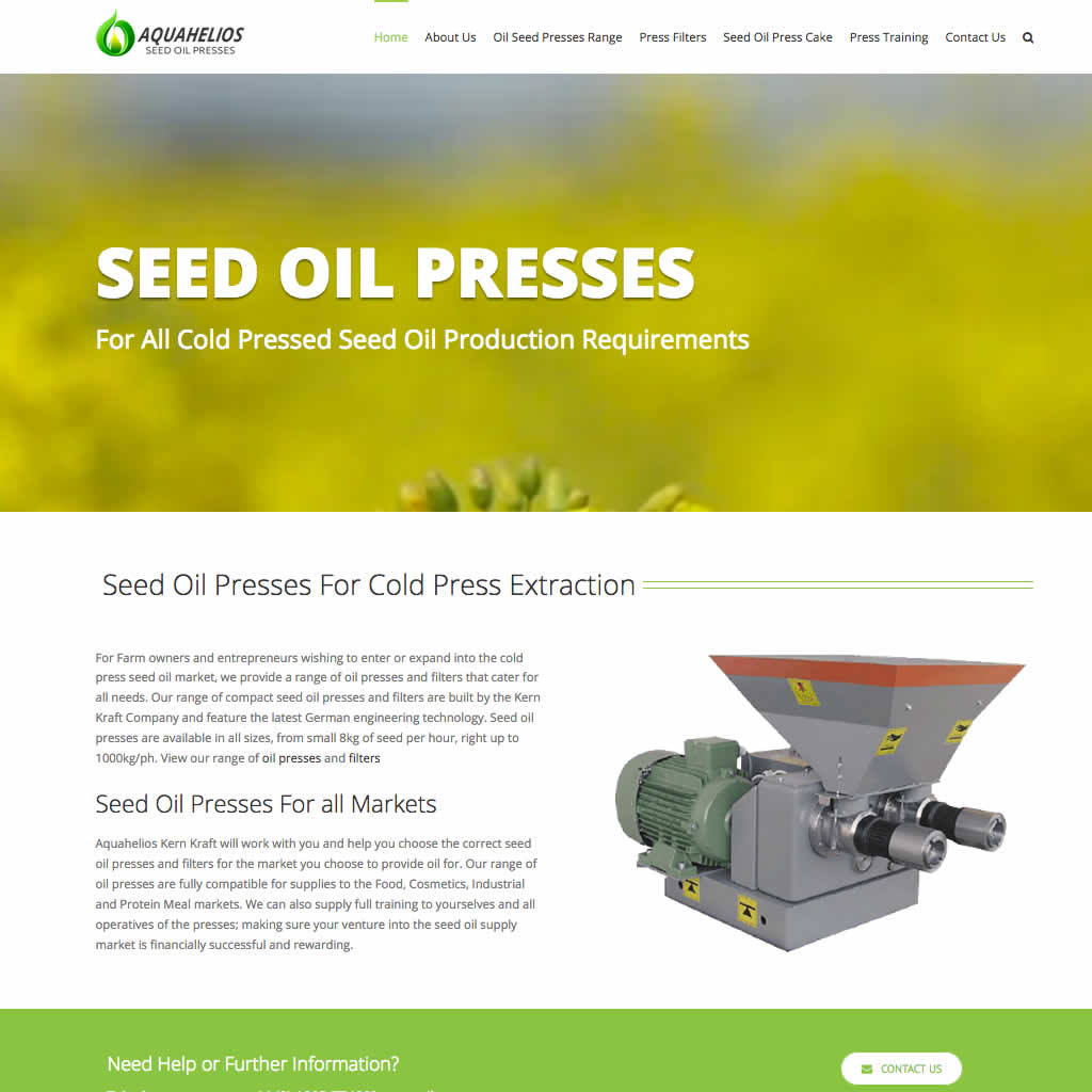 Home page for Aquahelios Oil Presses