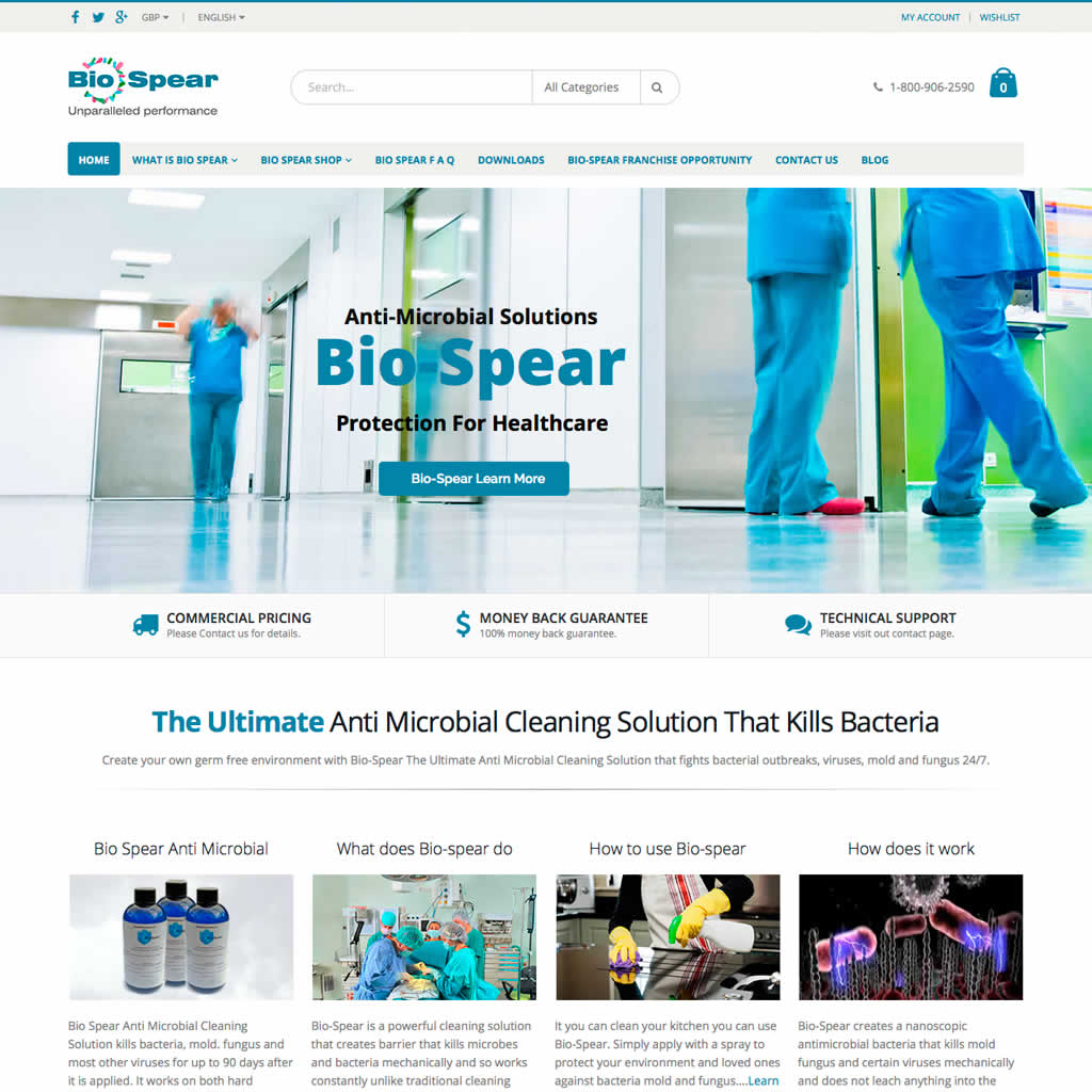 Home page Bio-spear Ecommerce Website Project