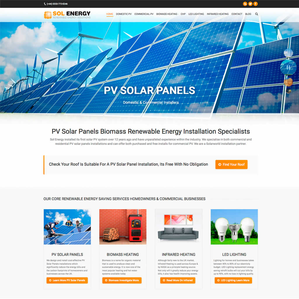 Sol Energy website Home Page