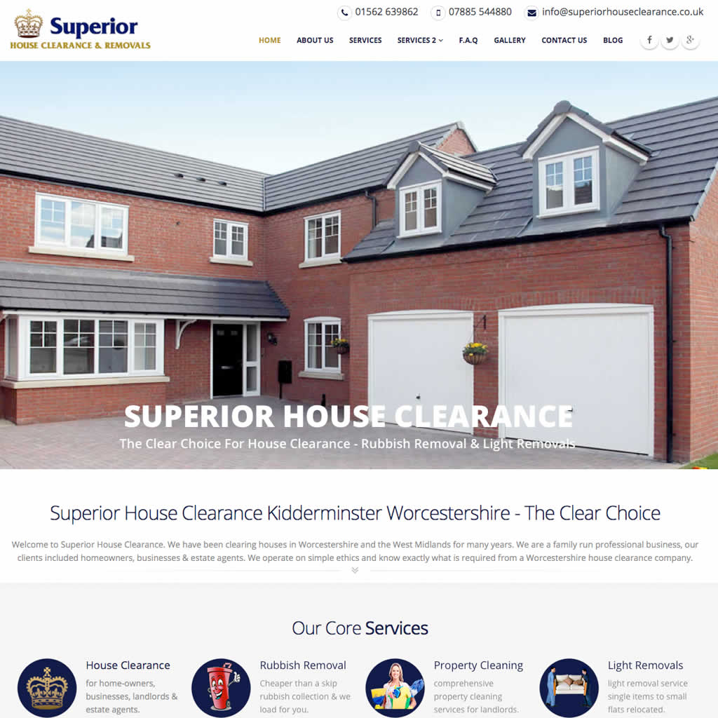 Recent website design for Superior House Clearance Kidderminster