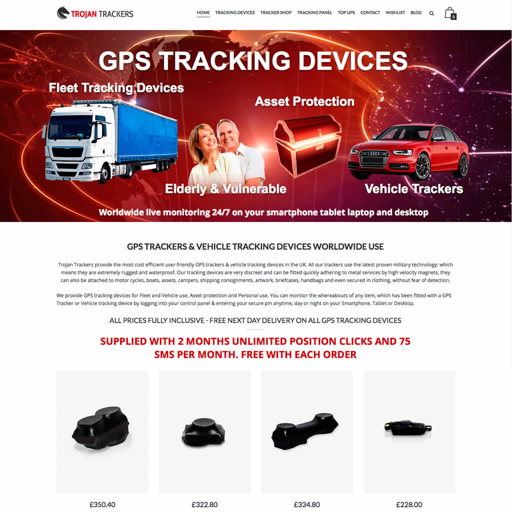 Home page for Trojan Trackers Website project